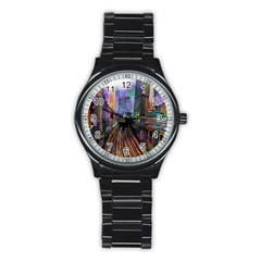 Downtown Chicago Stainless Steel Round Watch