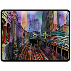 Downtown Chicago Double Sided Fleece Blanket (Large)