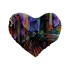 Downtown Chicago Standard 16  Premium Flano Heart Shape Cushions