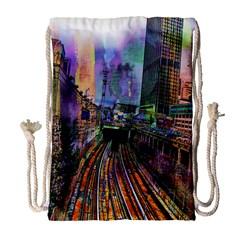 Downtown Chicago Drawstring Bag (large)