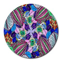 Wallpaper Created From Coloring Book Round Mousepads