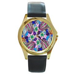 Wallpaper Created From Coloring Book Round Gold Metal Watch