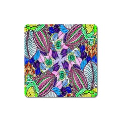 Wallpaper Created From Coloring Book Square Magnet