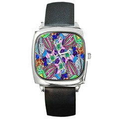 Wallpaper Created From Coloring Book Square Metal Watch