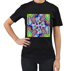 Wallpaper Created From Coloring Book Women s T Shirt (black) (two Sided)