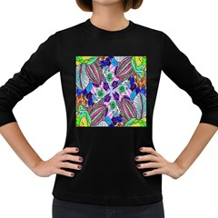 Wallpaper Created From Coloring Book Women s Long Sleeve Dark T Shirts