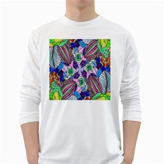 Wallpaper Created From Coloring Book White Long Sleeve T Shirts