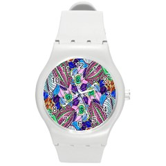 Wallpaper Created From Coloring Book Round Plastic Sport Watch (m)