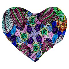 Wallpaper Created From Coloring Book Large 19  Premium Heart Shape Cushions