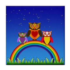 Owls Rainbow Animals Birds Nature Tile Coasters