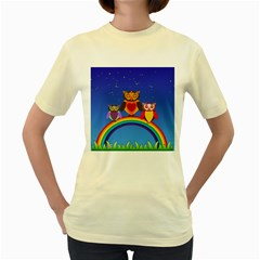 Owls Rainbow Animals Birds Nature Women s Yellow T Shirt