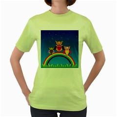 Owls Rainbow Animals Birds Nature Women s Green T-Shirt