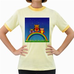 Owls Rainbow Animals Birds Nature Women s Fitted Ringer T Shirts