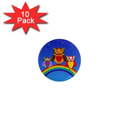 Owls Rainbow Animals Birds Nature 1  Mini Magnet (10 Pack)