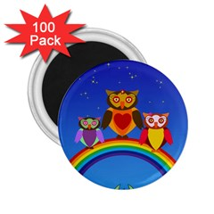 Owls Rainbow Animals Birds Nature 2 25  Magnets (100 Pack)