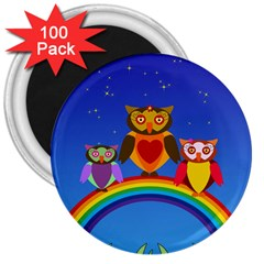 Owls Rainbow Animals Birds Nature 3  Magnets (100 Pack)