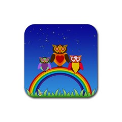 Owls Rainbow Animals Birds Nature Rubber Square Coaster (4 Pack)
