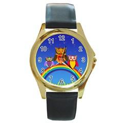 Owls Rainbow Animals Birds Nature Round Gold Metal Watch