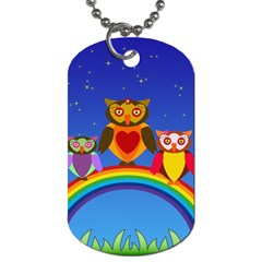 Owls Rainbow Animals Birds Nature Dog Tag (two Sides)
