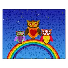 Owls Rainbow Animals Birds Nature Rectangular Jigsaw Puzzl