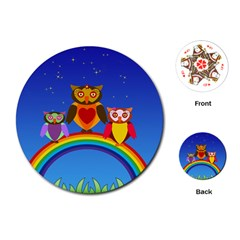 Owls Rainbow Animals Birds Nature Playing Cards (round)