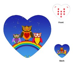 Owls Rainbow Animals Birds Nature Playing Cards (heart)