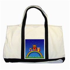 Owls Rainbow Animals Birds Nature Two Tone Tote Bag