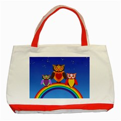 Owls Rainbow Animals Birds Nature Classic Tote Bag (red)