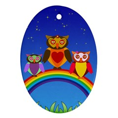 Owls Rainbow Animals Birds Nature Oval Ornament (two Sides)