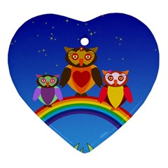 Owls Rainbow Animals Birds Nature Heart Ornament (two Sides)