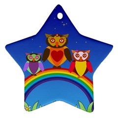 Owls Rainbow Animals Birds Nature Star Ornament (two Sides)