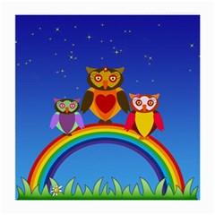 Owls Rainbow Animals Birds Nature Medium Glasses Cloth (2-Side)