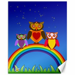 Owls Rainbow Animals Birds Nature Canvas 11  X 14
