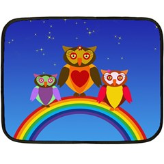 Owls Rainbow Animals Birds Nature Double Sided Fleece Blanket (mini)