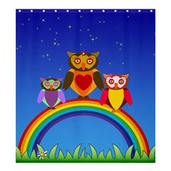 Owls Rainbow Animals Birds Nature Shower Curtain 66  x 72  (Large)