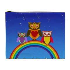 Owls Rainbow Animals Birds Nature Cosmetic Bag (xl)