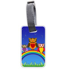 Owls Rainbow Animals Birds Nature Luggage Tags (one Side)