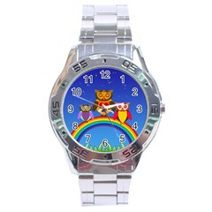 Owls Rainbow Animals Birds Nature Stainless Steel Analogue Watch