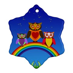 Owls Rainbow Animals Birds Nature Snowflake Ornament (two Sides)