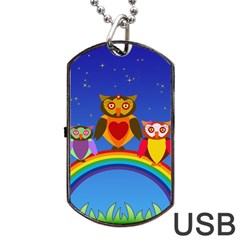 Owls Rainbow Animals Birds Nature Dog Tag Usb Flash (two Sides)