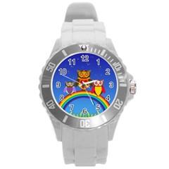 Owls Rainbow Animals Birds Nature Round Plastic Sport Watch (l)