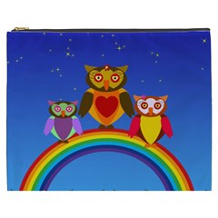 Owls Rainbow Animals Birds Nature Cosmetic Bag (xxxl)