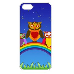Owls Rainbow Animals Birds Nature Apple Iphone 5 Seamless Case (white)