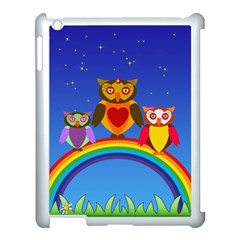Owls Rainbow Animals Birds Nature Apple Ipad 3/4 Case (white)