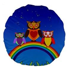 Owls Rainbow Animals Birds Nature Large 18  Premium Round Cushions