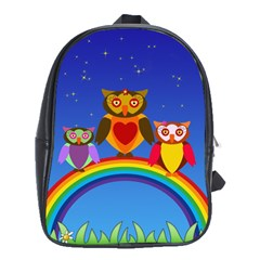 Owls Rainbow Animals Birds Nature School Bags (xl)
