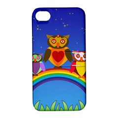 Owls Rainbow Animals Birds Nature Apple Iphone 4/4s Hardshell Case With Stand