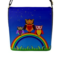 Owls Rainbow Animals Birds Nature Flap Messenger Bag (l)