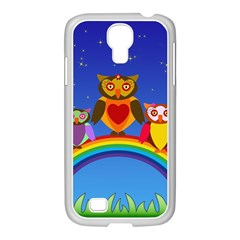 Owls Rainbow Animals Birds Nature Samsung Galaxy S4 I9500/ I9505 Case (white)