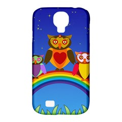 Owls Rainbow Animals Birds Nature Samsung Galaxy S4 Classic Hardshell Case (pc+silicone)
